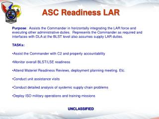 ASC Readiness LAR