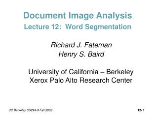 Document Image Analysis Lecture 12:  Word Segmentation