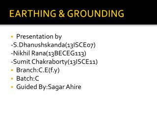 EARTHING & GROUNDING