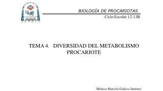 TEMA  4. DIVERSIDAD DEL METABOLISMO PROCARIOTE
