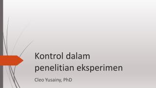 Kontrol dalam penelitian eksperimen