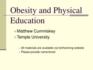 Obesity and Physical Education
