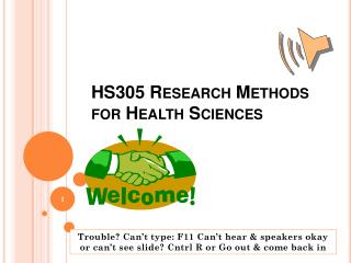 HS305 Research Methods for Health Sciences