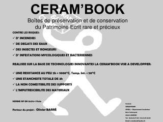 CERAM'BOOK Boîtes de préservation et de conservation  du Patrimoine Ecrit rare et précieux