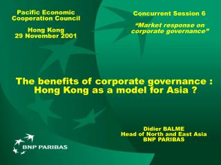 The benefits of corporate governance :  Hong Kong as a model for Asia