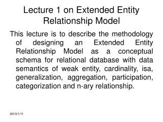 Lecture 1 on Extended Entity Relationship Model