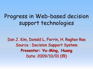 Progress in Web-based decision support technologies