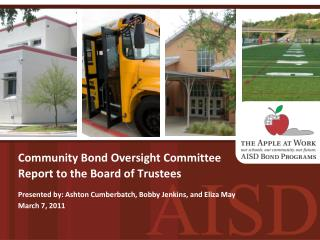 Community Bond Oversight Committee Report to the Board of Trustees