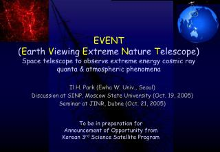 To be in preparation for  Announcement of Opportunity from  Korean 3 rd  Science Satellite Program