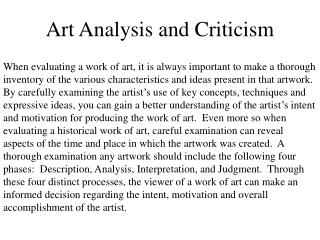 Art Analysis and Criticism