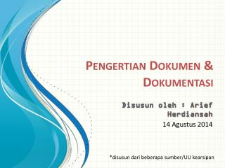 Pengertian Dokumen & Dokumentasi