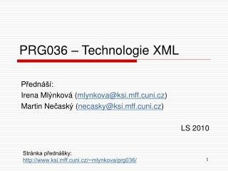 PRG036 � Technologie XML