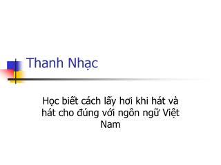 Thanh Nhạc