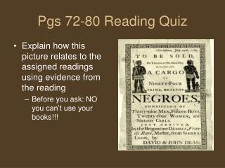 Pgs 72-80 Reading Quiz