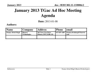 January 2013 TGac Ad Hoc Meeting Agenda