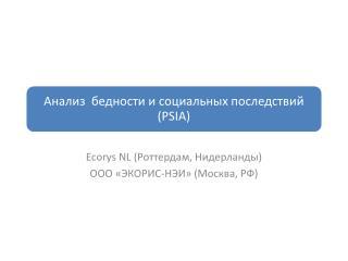 Ecorys NL  (Роттердам, Нидерланды) ООО «ЭКОРИС-НЭИ» (Москва, РФ)