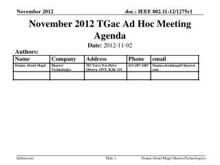 November 2012 TGac Ad Hoc Meeting Agenda