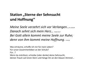 """Station """"Sterne der Sehnsucht  und Hoffnung"""""""