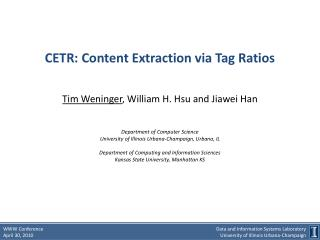 CETR: Content Extraction via Tag Ratios