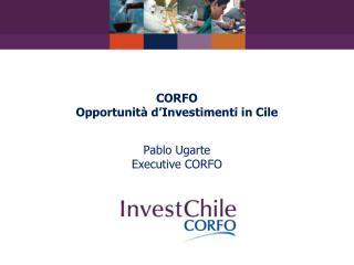 CORFO Opportunità d'Investimenti in Cile Pablo Ugarte Executive CORFO