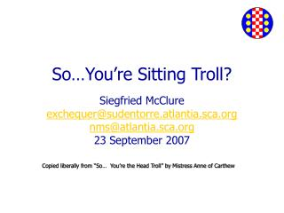 So You re Sitting Troll