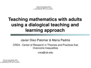 Teaching mathematics with adults using a dialogical teaching and learning approach