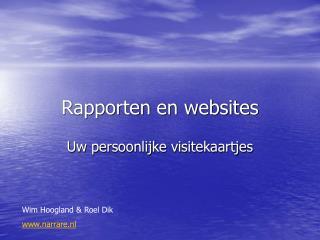 Rapporten en websites