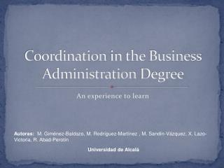 Coordination  in  the  Business Administration  Degree