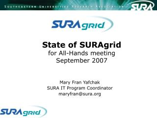 State of SURAgrid for All-Hands meeting  September 2007