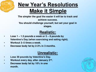 New Year�s Resolutions Make it Simple