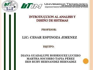 INTRODUCCION AL ANALISIS Y DISE�O DE SISTEMAS