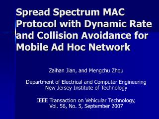Spread Spectrum MAC Protocol with Dynamic Rate and Collision Avoidance for Mobile Ad Hoc Network