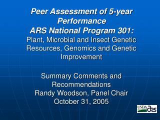 National Program 301 Assessment Panel