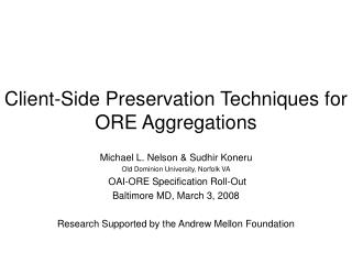 Client-Side Preservation Techniques for ORE Aggregations