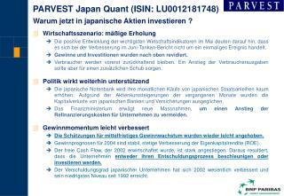 PARVEST Japan Quant (ISIN:  LU0012181748 )