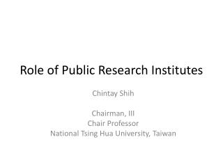 Role of Public Research Institutes