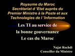 Royaume du Maroc Secr tariat d  Etat aupr s du Premier Ministre   la Poste et aux Technologies de l  Information