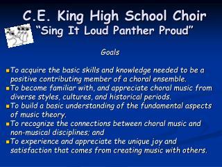 "C.E. King High School Choir ""Sing It Loud Panther Proud"""