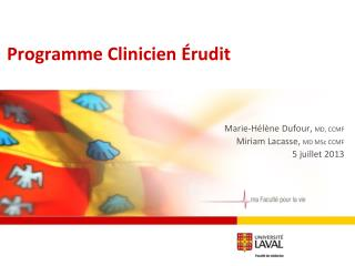 Programme Clinicien Érudit
