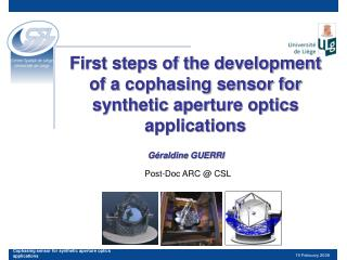 First steps of the development of a cophasing sensor for synthetic aperture optics applications