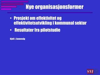 Nye organisasjonsformer