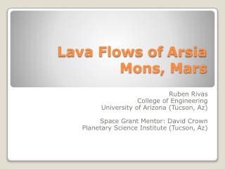 Lava Flows of  Arsia  Mons, Mars