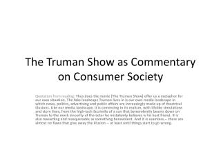 The Truman Show as Commentary on Consumer Society
