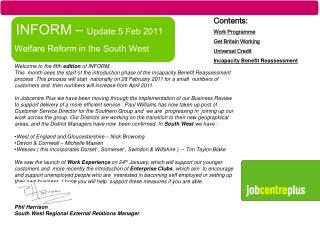 INFORM –  Update 5 Feb 2011  Welfare Reform in the South West