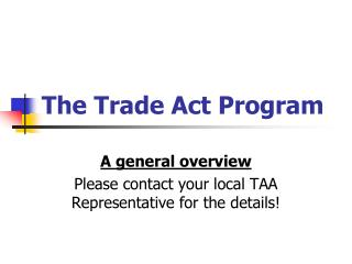 The Trade Act Program