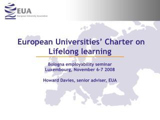 European Universities  Charter on Lifelong learning