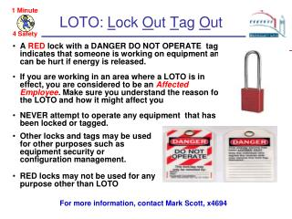 LOTO: Lock Out Tag Out