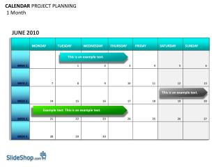 CALENDAR  PROJECT PLANNING  1 Month