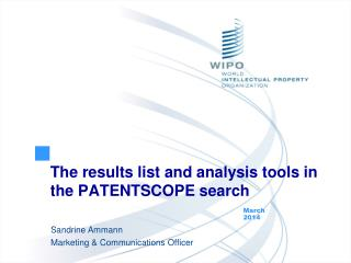 The  results  list and  analysis  tools in the PATENTSCOPE  search