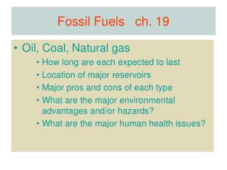 Fossil Fuels   ch. 19